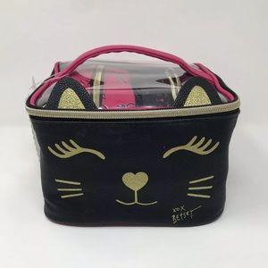 Betsey Johnson Makeup Cosmetic Bag Cat Set Of 3